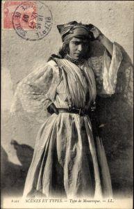 Ak Scenes et Types, Type de Mauresque, Araberin in Volkstracht, Maghreb