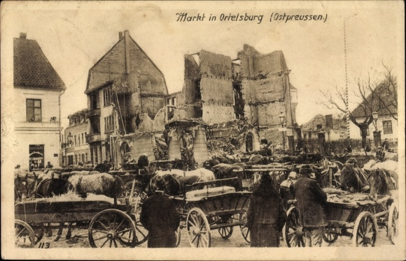 Ak Szczytno Ortelsburg Ostpreußen, Kriegszerstörungen am Markt, Flüchtlinge, I. WK