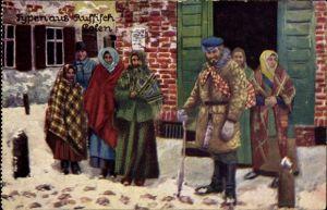 Künstler Ak Typen aus Russisch Polen, Bauern in Winterkleidung
