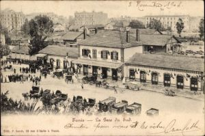 Ak Tunis Tunesien, La Gare du Sud, Südbahnhof