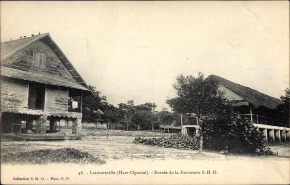 Ak Lastoursville Haut Ogooué Gabun, Entrée de la Factorerie SHO