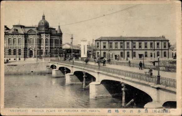 Ak Fukuoka Präf. Fukuoka Japan, Hakata, Brücke über einen Fluss, Gebäude