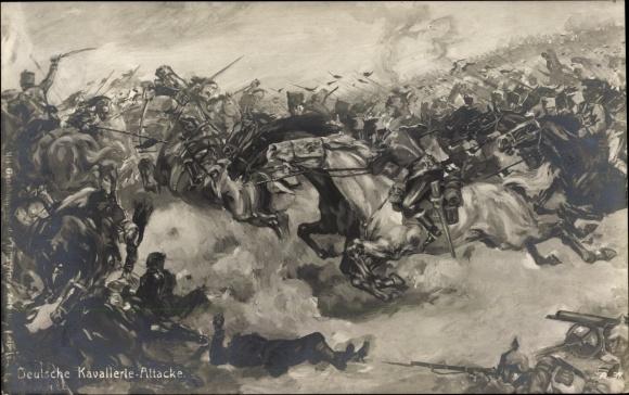 Künstler Ak Deutsche Kavallerie Attacke, Freiwilliger Wohlfahrtsausschuss Plauen