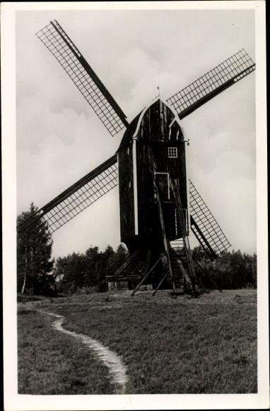 Ak Blick zu einer holländischen Windmühle auf einer Wiese