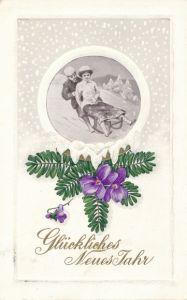Präge Winter Litho Glückwunsch Neujahr, Mann und Frau auf einem Schlitten, Abfahrt