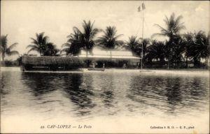 Ak Cap Lopez Gabun, Le Poste, Blick vom Meer auf den Strand