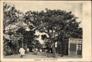 Ak Tamatave Toamasina Madagaskar, Rue de l'Artillerie, Straßenpartie