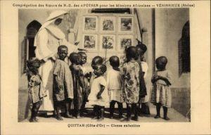 Ak Quittah Ghana, Missions Africaines, Soeurs de N. D. de Apotres, Classe enfantine, Missionarin