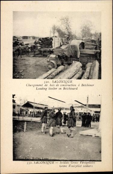 Ak Thessaloniki Griechenland, Chargement de bois de construction à Betchinar,Holzlager,Soldats grecs