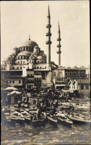 Ak Konstantinopel Istanbul Türkei, Mosque de la Sultane Valide a Stamboul, Moschee, Hafenpartie