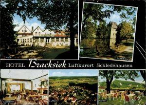 Passepartout Ak Schledehausen Bissendorf in Niedersachsen, Hotel Bracksiek, Schelenburg, Ortsblick