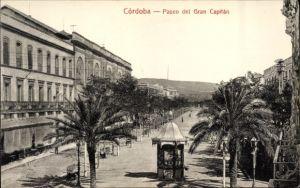 Ak Cordoba Andalusien Spanien, Paseo del Gran Capitan, Promenade, Kiosk