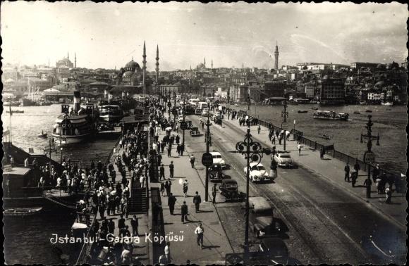 Foto Ak Konstantinopel Istanbul Türkei, Galata Köprüsü, Straßenpartie, Brücke
