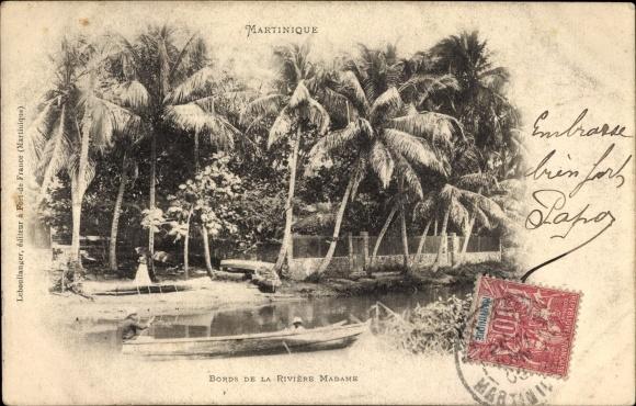 Ak Martinique, Bords de la riviere Madame, Flusspartie