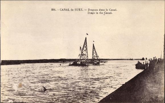 Ak Suez Ägypten, Canal de Suez, Dragues dans le Canal, Schwimmbagger
