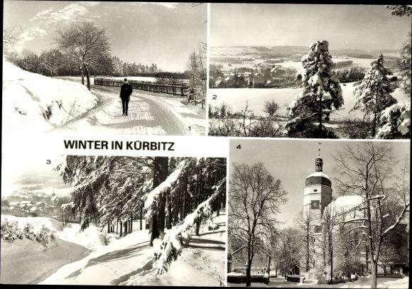 Ak Kürbitz Weischlitz im Vogtland, Winter, Straße nach Tiergarten, Elstertal, Kirche