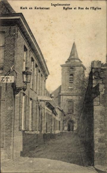 Ak Ingelmunster Westflandern, Kerk en Kerkstraat, Église et Rue de l'Église