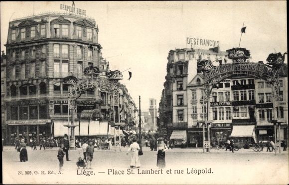 Ak Liège Lüttich Wallonien, Place St. Lambert et rue Léopold