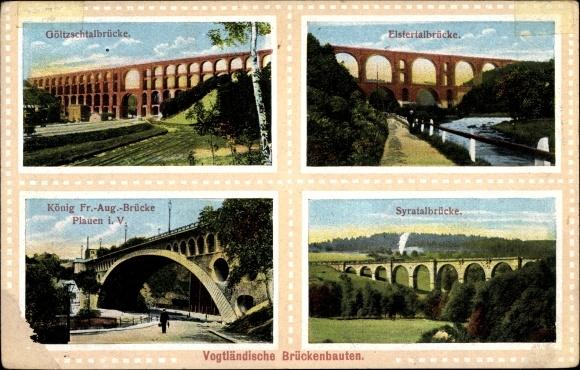 Ak Netzschkau Vogtland, Göltzschtalbrücke, Elstertalbrücke, Syratalbrücke, König Fr. August Brücke
