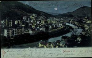 Mondschein Ak Altena im Märkischen Kreis, Flusspartie mit Blick auf die Stadt