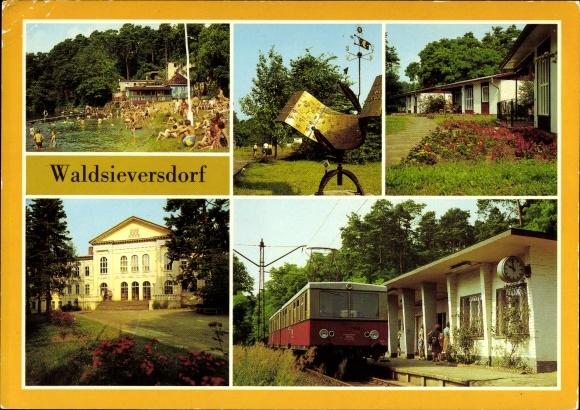 Ak Waldsieversdorf in Brandenburg, Badepartie im Däbersee, Bungalows, Bahnhof, Bahn fährt ein