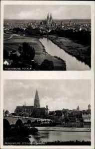 Ak Regensburg an der Donau Oberpfalz, Blick zum Ort mit Umgebung, Steinerne Brücke