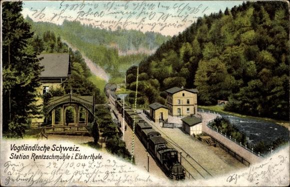 Ak Rentzschmühle Pöhl im Vogtland, Blick auf den Bahnhof, Dampflok
