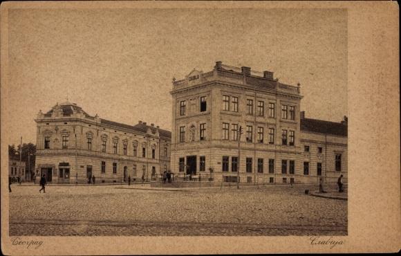 Ak Belgrad Beograd Serbien, Slavija, Platz, Gebäude