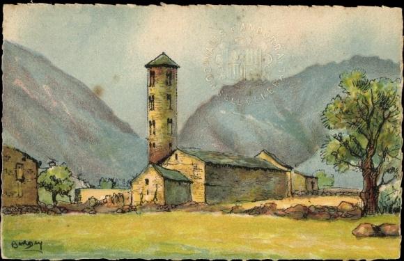 Präge Wappen Künstler Ak Barday, Andorra, Santa Coloma, Blick auf die Kirche