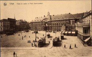 Ak Liège Lüttich Wallonien, Palais de Justice et Place Saint Lambert, Straßenbahnen