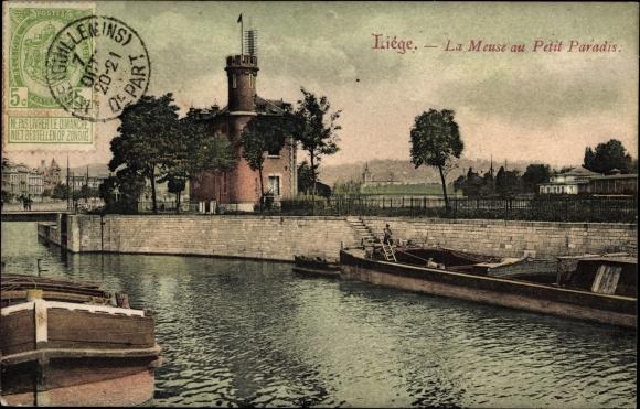 Ak Liège Lüttich Wallonien, La Meuse au Petit Paradis, Flusspartie