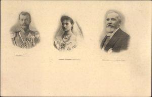 Ak Zar Nikolaus II. von Russland, Zarin Alexandra Fjodorowna, Präsident Émile Loubet, Staatsbesuch