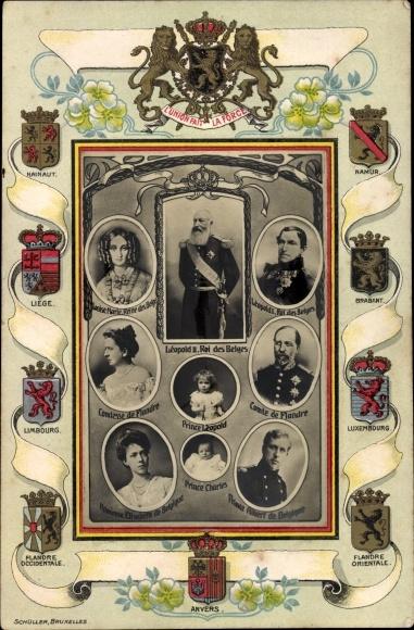 Präge Passepartout Ak König Leopold II. von Belgien, Leopold I., Prinz Albert