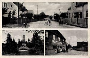 Ak Kraupa Elsterwerda in Brandenburg, Dorfstraße, Kriegerdenkmal, Kolonialwarenhandlung, Anwohner