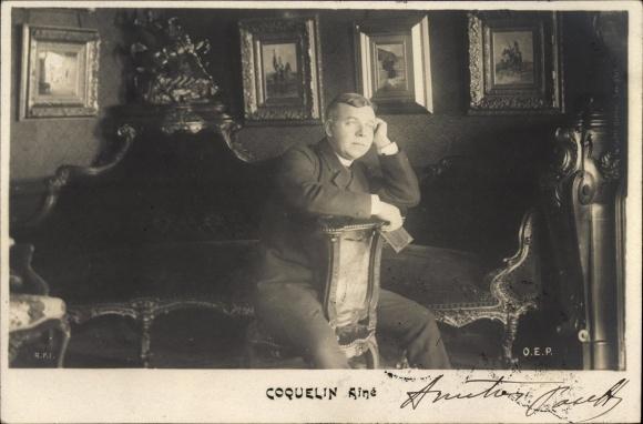 Ak Schauspieler Benoît Constant Coquelin, Ainé, Sitzportrait