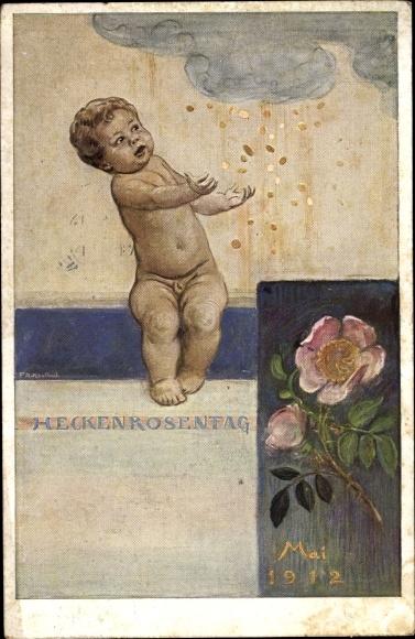 Künstler Ak Kaulbach, Friedrich August, Heckenrosentag Mai 1912, Geldregen