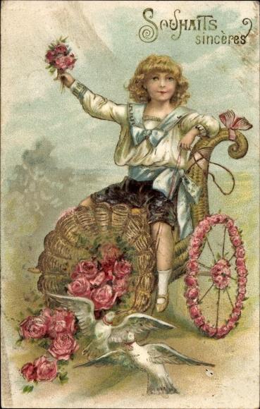 Präge Litho Souhaits sincères, Junge in einem Füllhorn als Kutsche, Rosen, Tauben