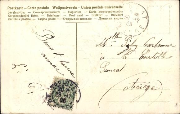 Präge Litho Souhaits sincères, Junge in einem Füllhorn als Kutsche, Rosen, Tauben 1
