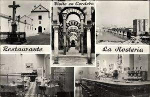 Ak Cordoba Andalusien Spanien, Restaurante La Hosteria, Kreuz, Kirche, Innenansicht
