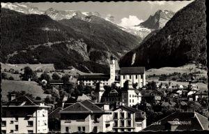 Ak Brigue Brig Glis Kt. Wallis Schweiz, Blick auf den Ort, Kirche, Alpen
