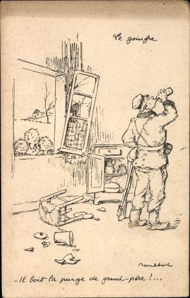 Künstler Ak Poulbot, Francisque, Trinkender Soldat wird von Kindern beobachtet
