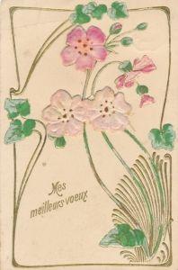 Material Präge Litho Mes meilleurs voeux, Blüten mit Blättern