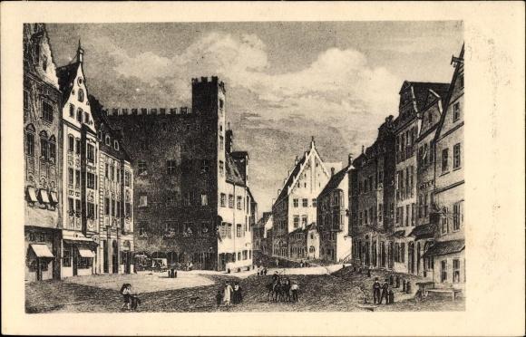 Künstler Ak Augsburg in Schwaben, Der Obstmarkt im 16. Jahrhundert