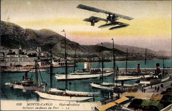 Ak Monte Carlo Monaco, Hydroaeroplane evoluant au dessus du Port, Hafen, Wasserflugzeug, LL.