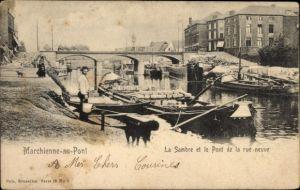 Ak Marchienne  au Pont Hennegau, La Sambre et le Pont de la rue neuve