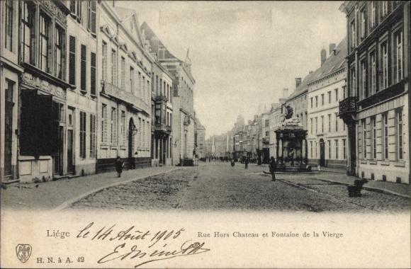 Ak Liège Lüttich Wallonien, Rue Hors Chateau et Fontaine de la Vierge, Straßenpartie, Brunnen