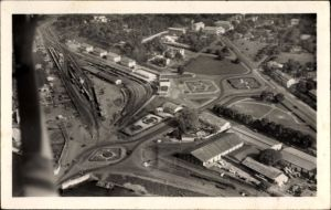 Ak Abidjan Elfenbeinküste, Fliegeraufnahme vom Bahnhof, Vue aérienne de la Gare