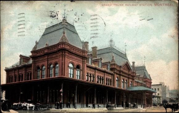 Ak Montreal Québec Kanada, Grand Trunk Railway Station, Blick auf den Bahnhof
