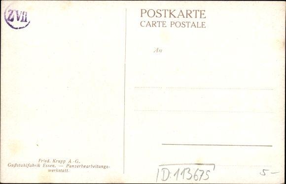 Künstler Ak Bollhagen, Otto, Friedrich Krupp AG, Gussstahlfabrik Essen, Panzerbearbeitungswerkstatt 1