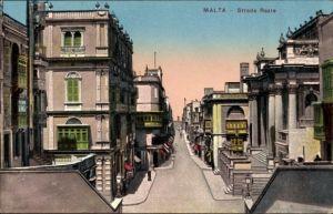 Ak Malta, Strada Reale, Straßenansicht, Wohnhäuser